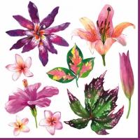 Servietten 33x33 cm - Fleurs Tropicales