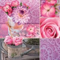 Servietten 33x33 cm - Rosa Blumencollage