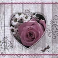 Servietten 33x33 cm - Coeur Rose Rustique vintage