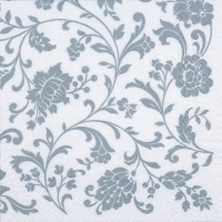 Servietten 33x33 cm - Arabesque White silver-white