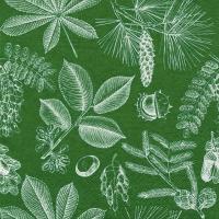 Servietten 33x33 cm - Forêt Feuilles & Fruits moss