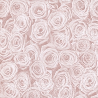 Servietten 33x33 cm - Beaucoup de Roses shiny rosé
