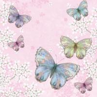 Servietten 33x33 cm - Bellissima Farfalla pink