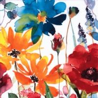 Servietten 33x33 cm - Flores Rojas y Amarillas