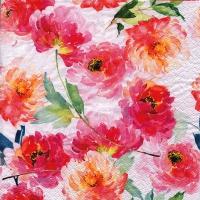 Servietten 33x33 cm - Sommerrosen weiß