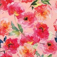 Servietten 33x33 cm - Summer Roses rosé