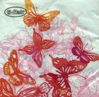 Servietten 33x33 cm - Amazing Butterflies red