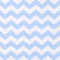 Servietten 33x33 cm - Chevron light blue