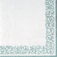 Servietten 33x33 cm - Romantic Border silver-white