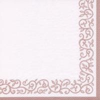 Servietten 33x33 cm - Romantik Border shiny rosé