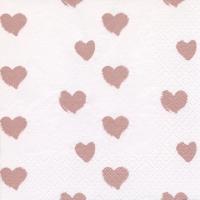Servietten 33x33 cm - Hearts shiny rosé