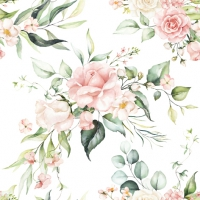 Servietten 33x33 cm - Blush Pink Bouquet
