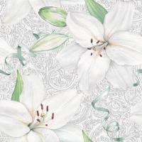 Servietten 33x33 cm - White Lily with Ribbon