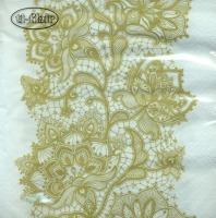Servietten 33x33 cm - Lace Pattern gold