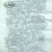 Servietten 33x33 cm - Lace Pattern silver