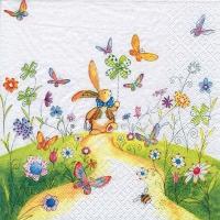 Servietten 33x33 cm - Bunny with Pinwheel