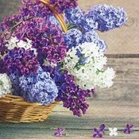 Servietten 33x33 cm - Panier de Fleurs Lilas