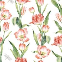 Servietten 33x33 cm - Chaînes de Tulipes red