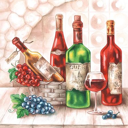 Servietten 25x25 cm - Wine Cellar