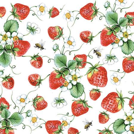 Servietten 25x25 cm - Strawberries All Over White