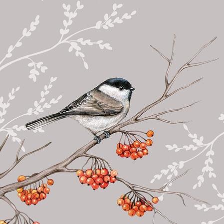 Servietten 25x25 cm - Bird On Branch Grey
