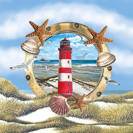 Servietten 25x25 cm - Lighthouse In Partridge