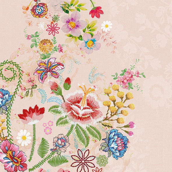 Servietten 33x33 cm - Embroidery Flowers Rose