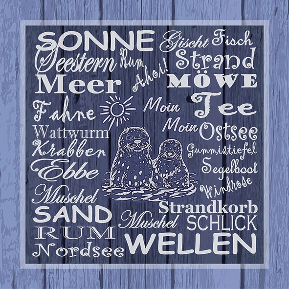 Servietten 33x33 cm - Beach Terms