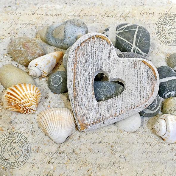 Servietten 33x33 cm - Hearts And Stones