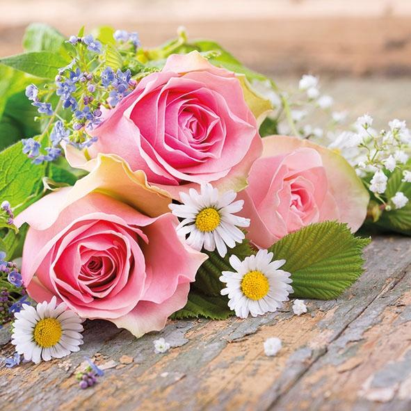 Servietten 33x33 cm - Roses Pink