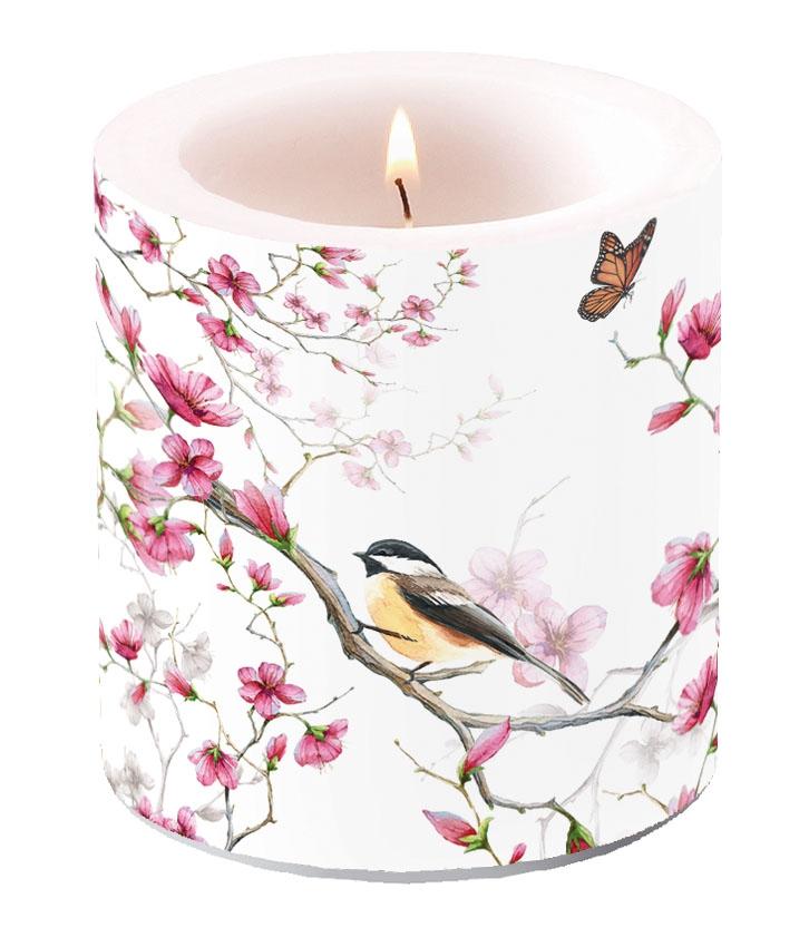 Dekorkerze klein - Bird & Blossom White
