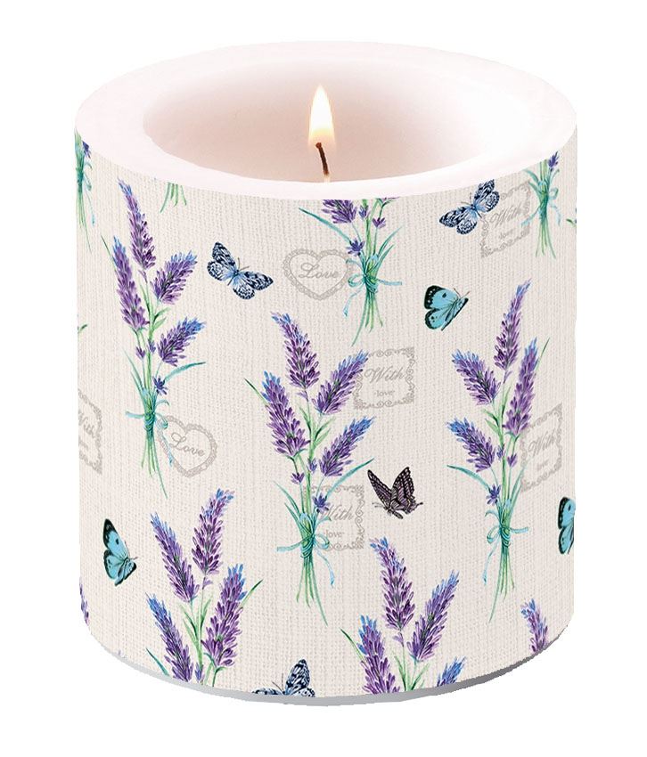 Dekorkerze klein - Lavender With Love Cream