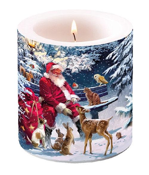 Dekorkerze klein - Santa On Bench