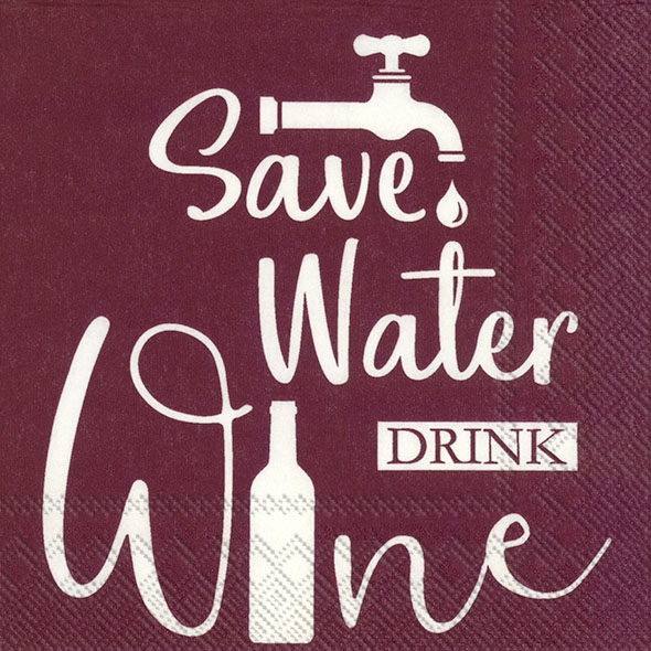 Servietten 25x25 cm - SAVE WATER bordeaux