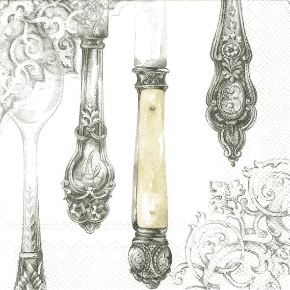 Servietten 33x33 cm - Besteck weiß-silber