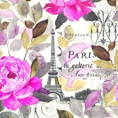 Servietten 33x33 cm - JARDIN PARIS rosa
