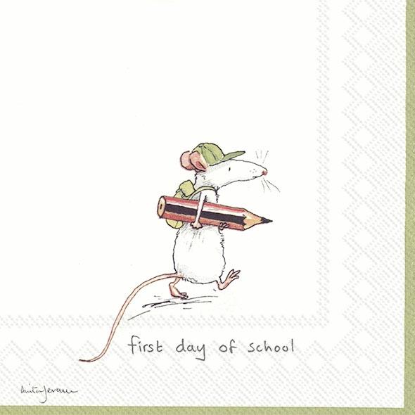Servietten 33x33 cm - FIRST DAY OF SCHOOL white