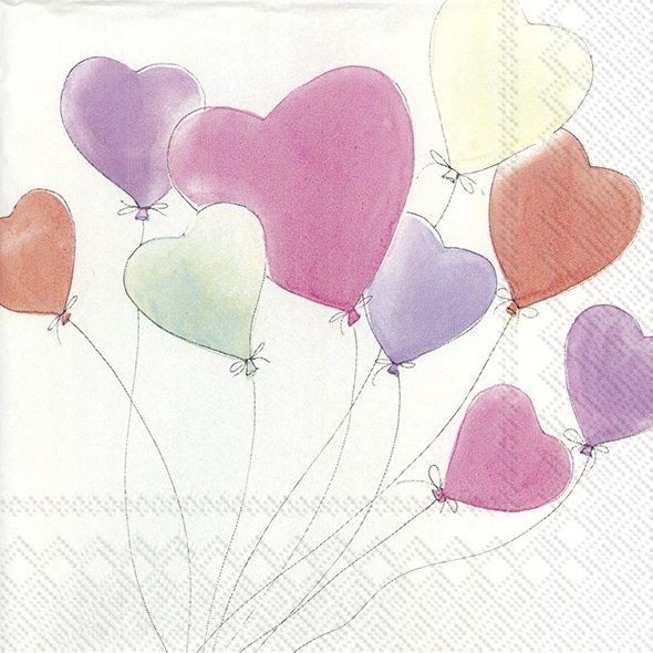 Servietten 33x33 cm - LOVE IS IN THE AIR white