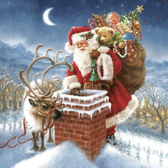 Servietten 33x33 cm - Santa Claus & Chimney