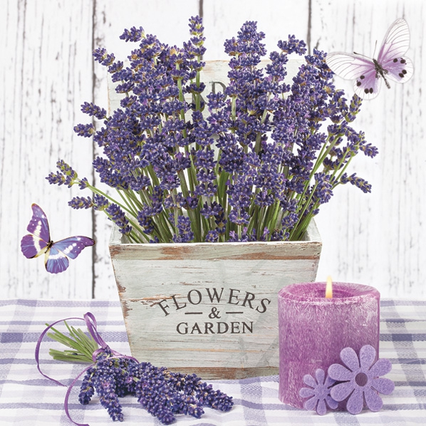 Servietten 33x33 cm - Lavender in a Wooden Pot
