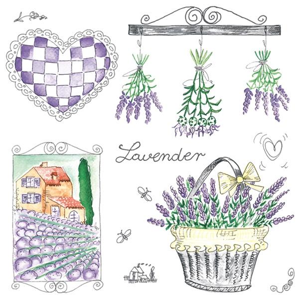 Servietten 33x33 cm - Lavender Garden