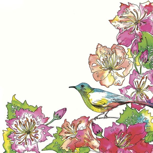 Servietten 33x33 cm - Exotic Flowers with Colourful Bird