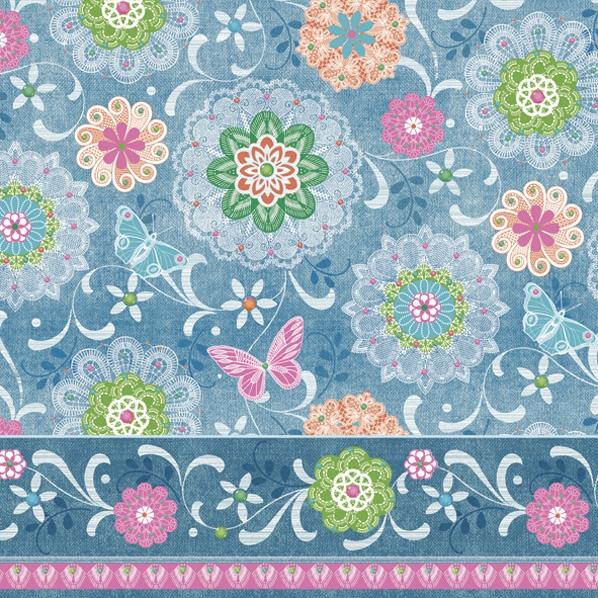 Servietten 33x33 cm - Blue Mandalas Pattern