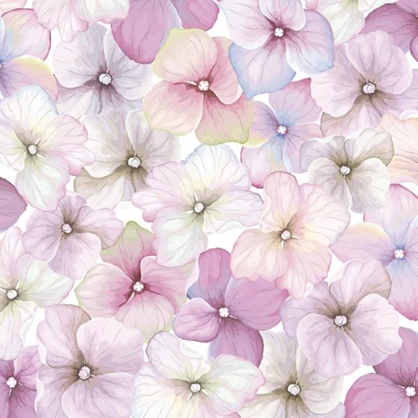 Servietten 33x33 cm - Pink Hydrangea Pattern