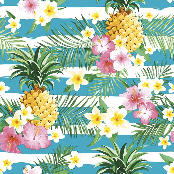 Servietten 33x33 cm - Tropical Flowers and Pineapples on Stripes