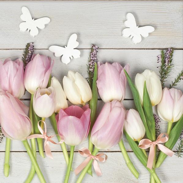 Servietten 33x33 cm - White & Pink Tulips on Wood
