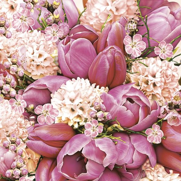 Servietten 33x33 cm - Cute Pink Bouquet