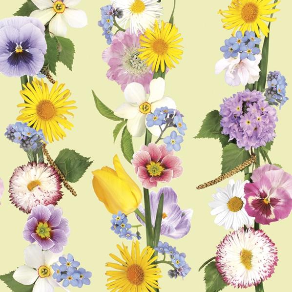 Servietten 33x33 cm - Spring Flowers Garland