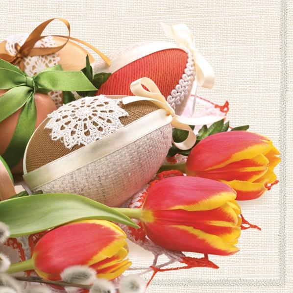 Servietten 33x33 cm - Tulips, Easter Eggs & Catkins