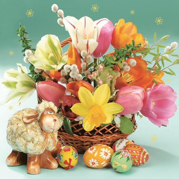 Servietten 33x33 cm - Porcelain Lamb, Flowers & Eggs